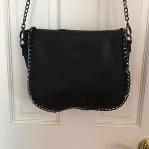 Steve Madden Black Leather Chain Crossbody